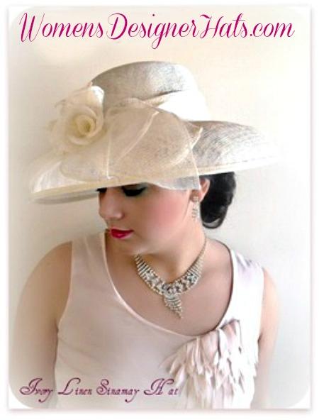 936ba092dcfc5 Ivory Sinamay Straw Wide Brim Wedding Hat Women s Designer Dress Hats