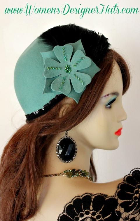Ladies Jade Green Black Cloche Flapper Roaring Twenties Hat Winter Designer  Fashion Pillbox Church Wedding Dress bd5f16dc0d1