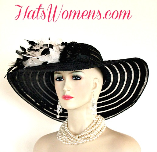 c236be8babf Ladies Black White Wide Brim Church Wedding Designer Fashion Hat Feathers  Roses ...