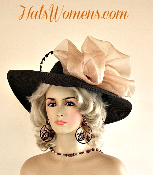 Brown Champagne Beige Wide Brim Designer Wedding Hat a6f4d12ca6b