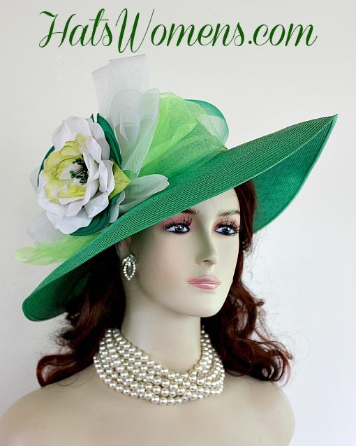 Ladies Kelly Green White Lime Designer Fashion Hat e7aaef84319e