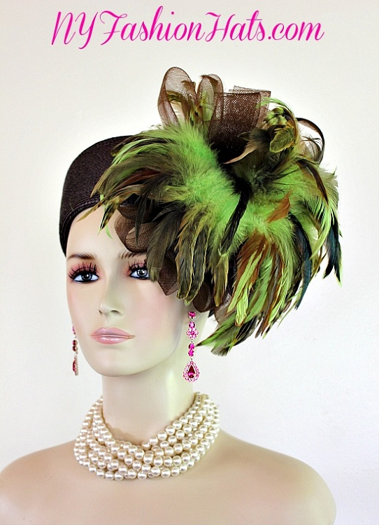 4c666579594 Ladies Brown And Lime Green Pillbox Designer Dress Hat For Women