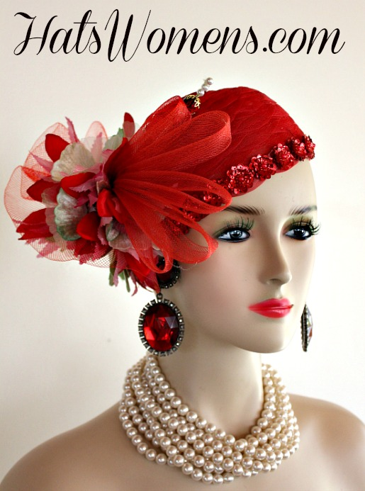 a3da94ee1bdcf Ladies Red Green Pink Cocktail Hat Wedding Pillbox Cloche Formal Couture Bridal  Hats