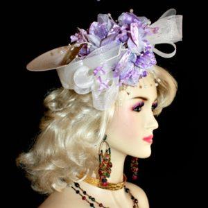 d8ee2ecbe14ce ... Custom Crownless White Lavender Designer Hat Bridal Wedding Headpiece  Sequin Pearls Velvet Flowers Women s Fashion Hats