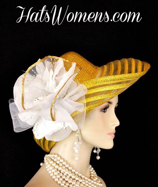 Metallic Gold White Wide Brim Designer Fashion Wedding Hat f5068c8bfa60
