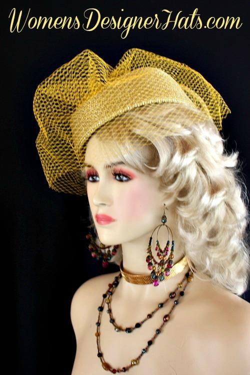 9ea146372d9 Metallic Gold Designer Pillbox Fashion Hat Women Wedding Formals ...