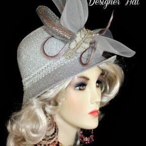 Ladies Metallic Silver Cloche Designer Fashion Church Hat e93c8ad8c24