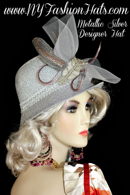 Ladies Metallic Silver Cloche Designer Fashion Church Hat ff73da69518