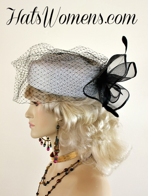 26817f7aa8ae4 Ladies Metallic Silver Black Special Occasion Veiled Pillbox Hat ...
