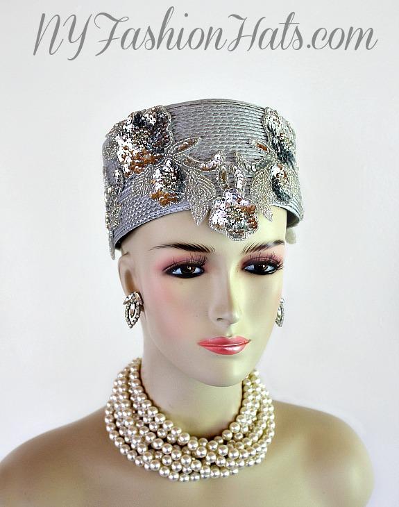 339915f3bbbbe Silver Grey Metallic Silver Pillbox Cocktail Hat Wedding Bridal ...