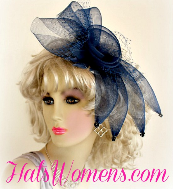 Navy Blue Cocktail Hat Mother Of The Bride Tea Party Headpiece ... 407834bd344