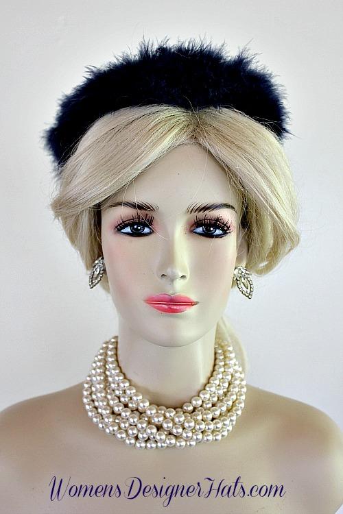 Ladies Vintage Navy Blue Feather Fur Like Cocktail Hat Headpiece ... 690111c197b