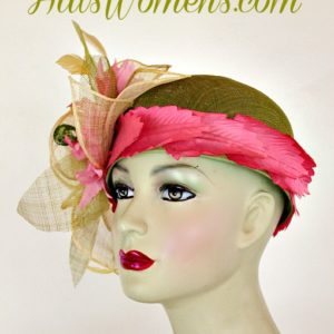 a9e47ef89b36e ... Olive Lime Green Ivory Sinamay Straw Cloche Flapper Wedding Bridal  Cocktail Pillbox Hat With Hot Pink ...