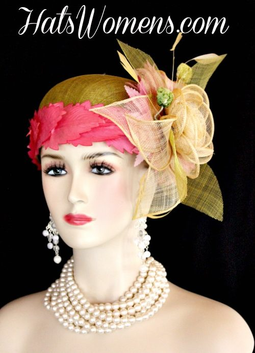 7bf1a4f8630fe Olive Lime Green Ivory Sinamay Straw Cloche Flapper Wedding Bridal Cocktail  Pillbox Hat With Hot Pink