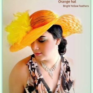 Women s Orange Designer Couture Dress Wedding Hat 0598c7c33c90