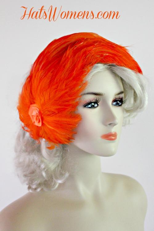 Ladies Vintage Orange Cocktail Hat Headpiece With Feathers 85aef7ca05d