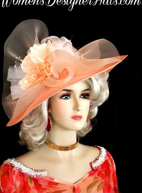 cbdc97cd934ec Ladies Peach White Wide Brim Kentucky Derby Hat Church Special Occasion  Bridal Hats