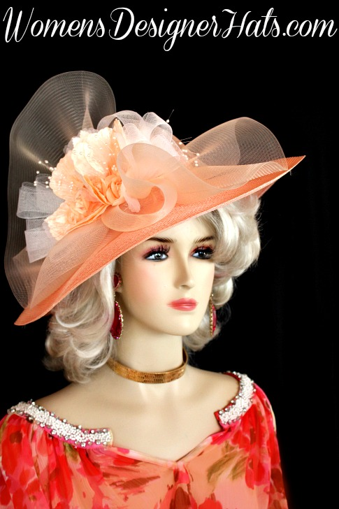 Ladies Peach White Wide Brim Kentucky Derby Hat Church Special ... a294fb28970