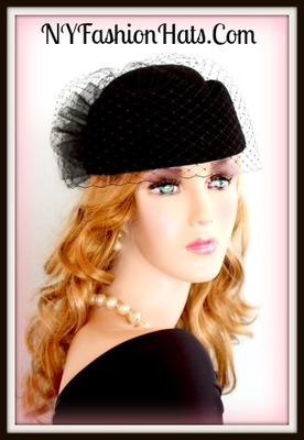 b3260d559 Women's Couture Designer Black Pillbox Winter Wool Hat, Hats With Veils,  Dress Hats For