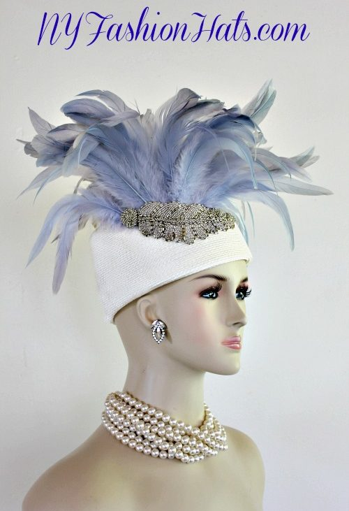 ef70cc957af Woman s Designer Ivory Ice Blue Silver Beaded Pillbox Hat Dress Church Hats  For Women