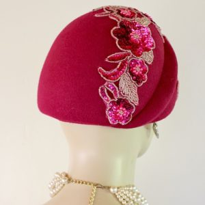3c522b6712e21 Ladies Women s Hot Pink Magenta Fuchsia Sequin Beaded Beehive Winter Wool  Designer Hat