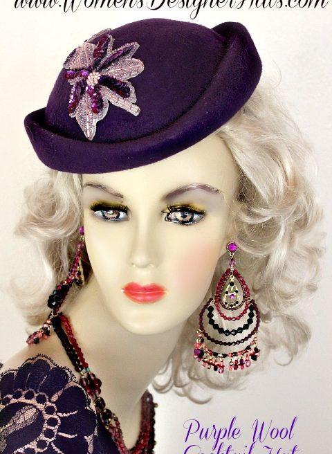 1f0a6f2bee740 Women s Purple Formal Special Occasion Designer Winter Wool Pillbox Hat  Fashion Wedding Dress Hats