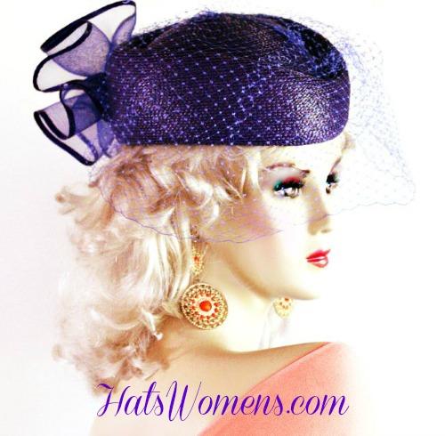 9a8a5dc97dda9 Ladies Purple Pillbox Veil Dress Designer Hat ...