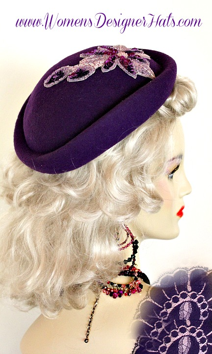 Women s Purple Formal Special Occasion Designer Winter Wool Pillbox Hat  Fashion Wedding Dress Hats 9e59a6a014