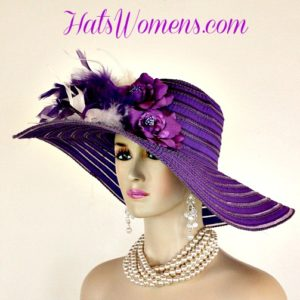 Ladies Purple White Wide Brim Church Wedding Designer Fashion Hat Feathers  Roses 7aafdeb3dc6