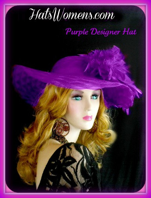 Women s Designer Purple Formal Church Hat Special Occasion Wedding ... a2a11e98dc8