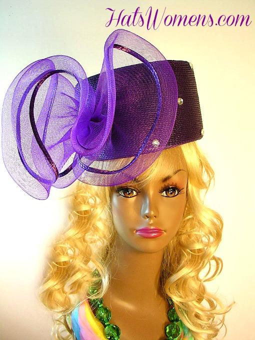 4ea65a19d22 Ladies Purple Designer Pillbox Hat Large Bow