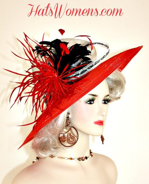 Women s Red Black White Wide Brim Church Wedding Hat ... e216933ccc8