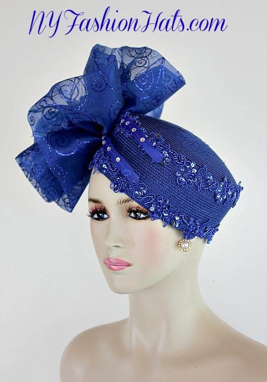 Royal Blue Big Bow Pillbox Cocktail Hat Wedding Bridal Headpiece ... b995cfea3bf
