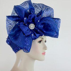 Royal Blue Big Bow Pillbox Cocktail Hat Wedding Bridal Headpiece Formal  Church Dress Hat 0ef1c71859d