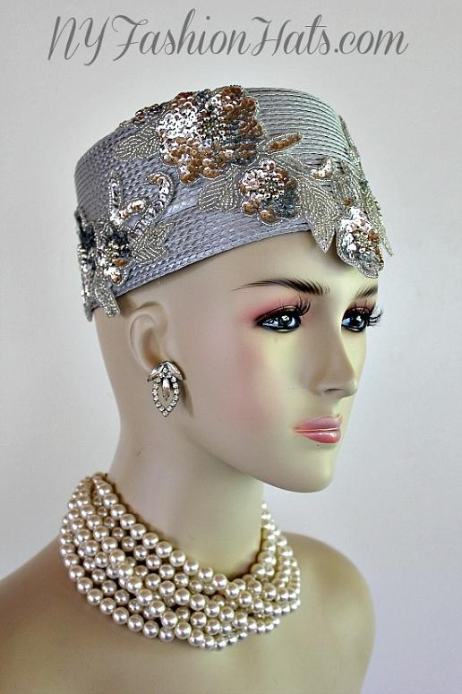 Silver Grey Metallic Silver Pillbox Cocktail Hat Wedding Bridal ... 9e507221252