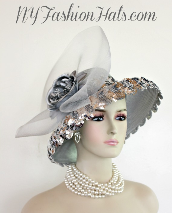 9e53706eb5bf1 Metallic Silver Grey Designer Fashion Hat Wedding Formal Church ...
