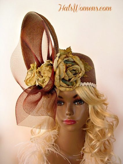 3892462f8467a Taupe Beige Brown Tan Couture Fashion Designer Pillbox Hat Church Hats For  Women