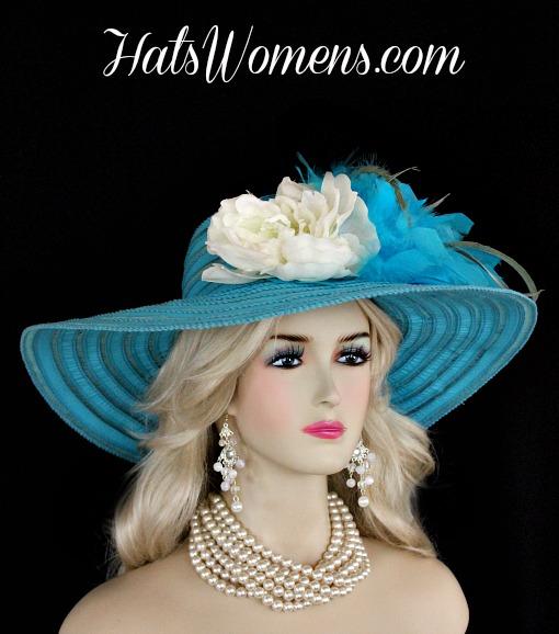 Ladies Turquoise Blue Wide Brim Church Wedding Designer Fashion Hat ... ec4f938d55c6