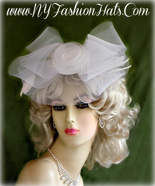 Ladies White Crinoline Comb Cocktail Hat Wedding Bridal Brides Headpiece  Formal Church Hats 401e7b81892