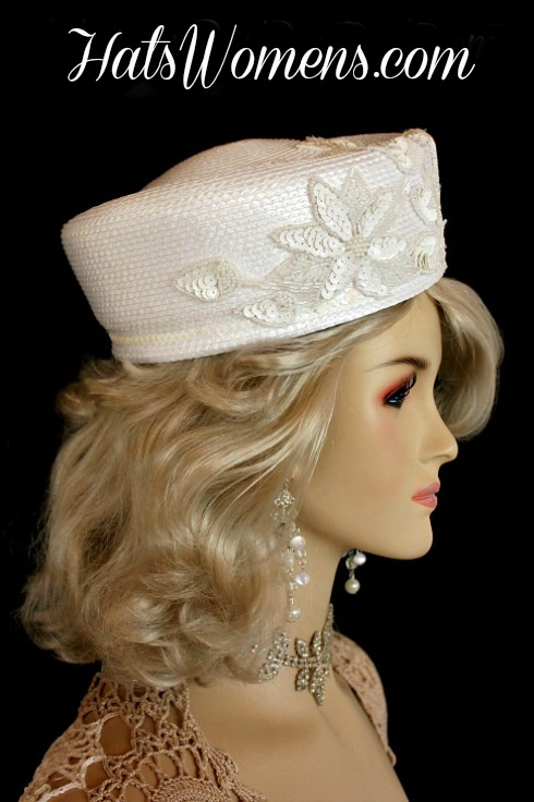 2115673b308ae White Designer Pillbox Wedding Fashion Bridal Hat