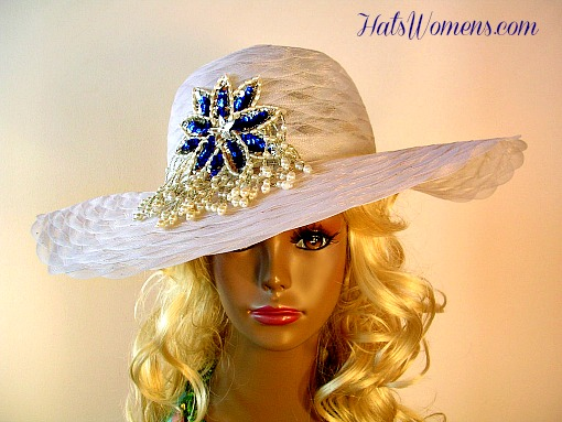 Woman s White Wide Brim Designer Formal Church Hat Royal Blue Pearl Applique 569aeb0560c3