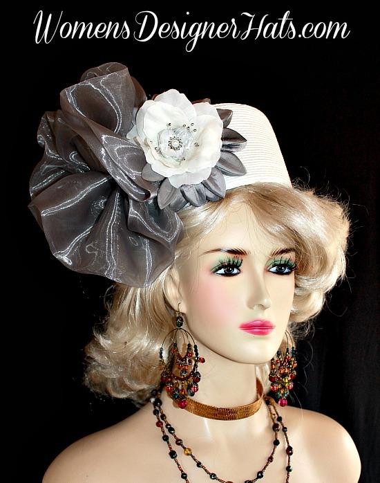 c0f1e5a8bfc Hat White Silver Grey Pillbox Wedding Headpiece Woman s Designer Bridal  Church Hats