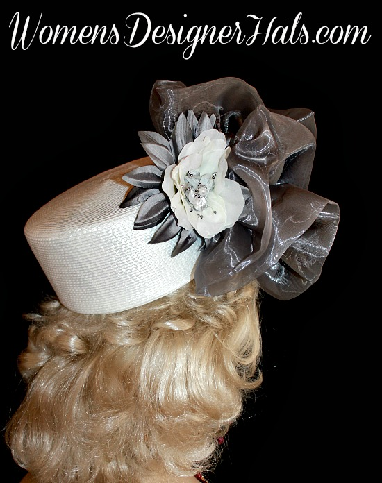 Hat White Silver Grey Pillbox Wedding Headpiece Woman s Designer Bridal  Church Hats 1017f56fb9e7