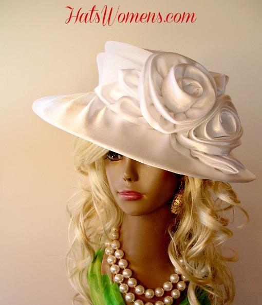 Woman s Champagne Beige Wide Brim Satin Bridal Designer Wedding Hat ... 28d061f0d19