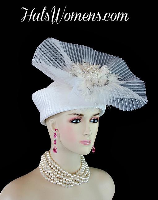 6ac4b5aa1fa Women s White Pillbox Wedding Bridal Hat Headpiece ...