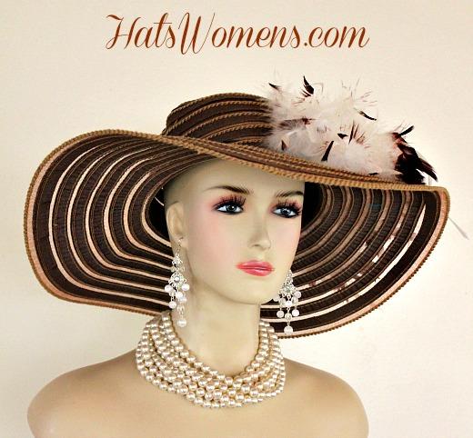dad216114585c Ladies Brown White Wide Brim Church Wedding Designer Fashion Hat ...