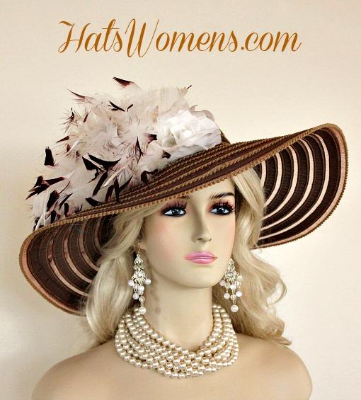 317760a2023 Ladies Brown White Wide Brim Church Wedding Designer Fashion Hat Feathers  ...