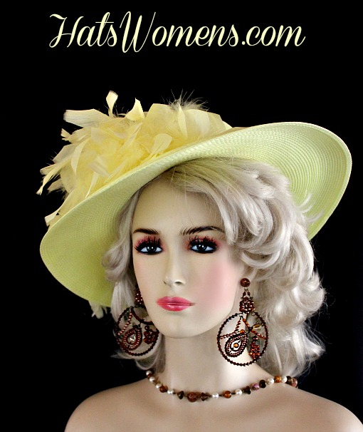 df89d702a60 Ladies Yellow Kentucky Derby Hat Feathers Satin Rose