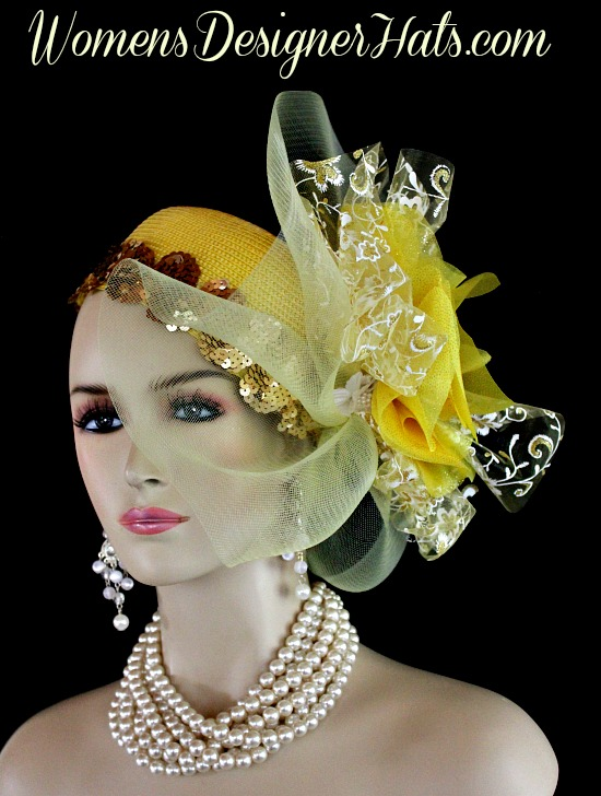 98f65538db56d Yellow White Metallic Gold Couture Designer Pillbox Wedding Bridal Hat  Cocktail Hat Headpiece