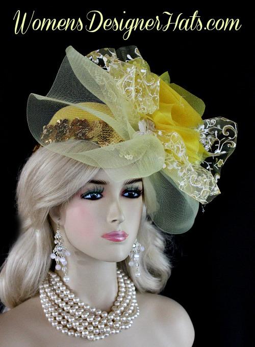 c3fc72b052f Yellow White Metallic Gold Couture Designer Pillbox Wedding Bridal Hat  Cocktail Hat Headpiece